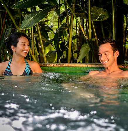Relax in the natural hot springs after a full day of activities