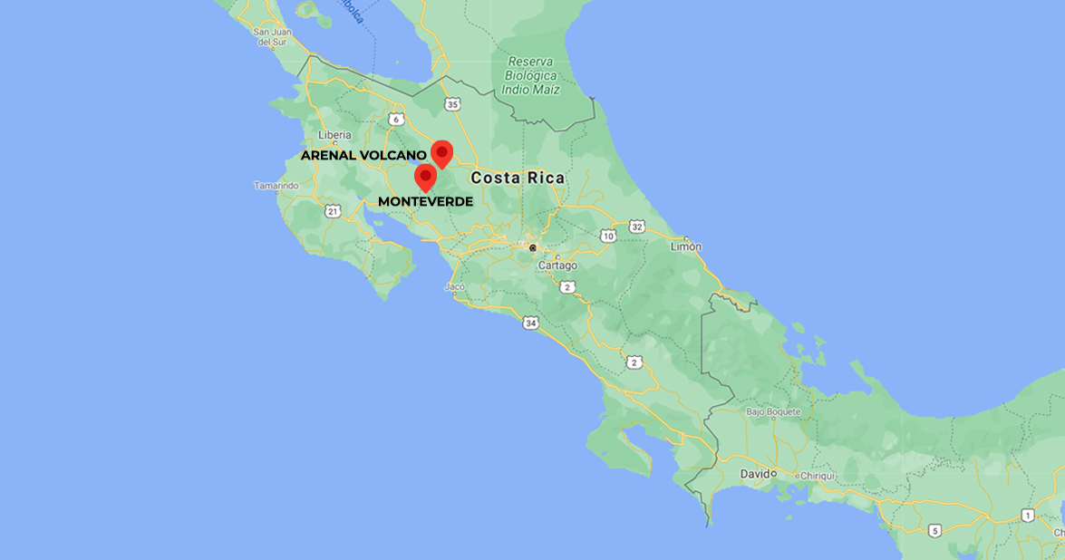 Two Natural Treasures of Costa Rica, Arenal Volcano & Monteverde Cloud Forest. 5-days trip in Costa Rica