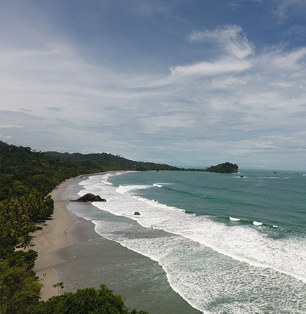 Beach and ocean view of the Pacific in Costa Rica.