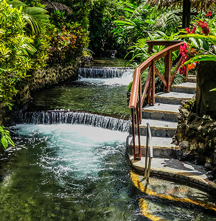 Tabacon Hot Springs is located in Arenal Volcano of Costa Rica